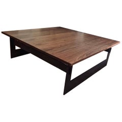 Contemporary Minimalist Blackened Steel and Walnut Coffee Table by Scott Gordon