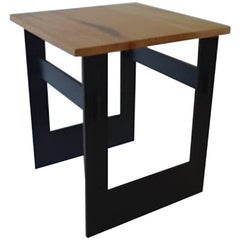 Contemporary Minimalist Blackened Steel and Wood End or Side Table-IN STOCK