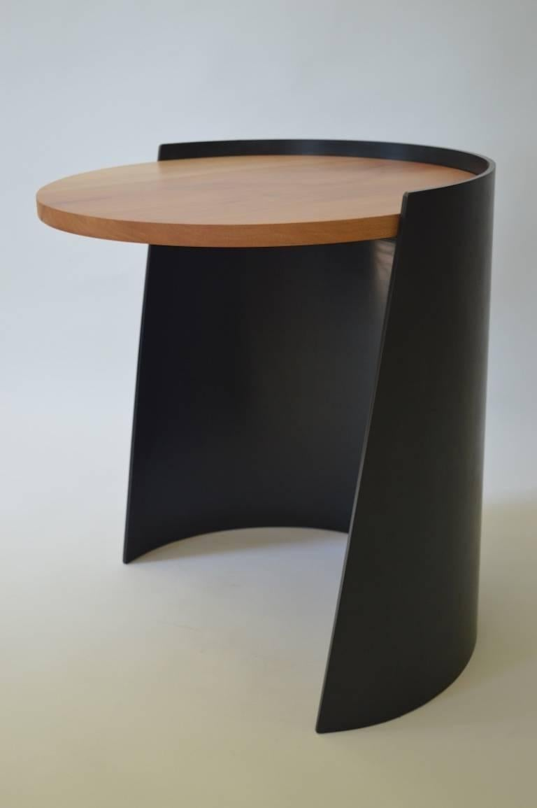 American Contemporary Minimalist Blackened Steel and Wood End/Side Table by Scott Gordon For Sale