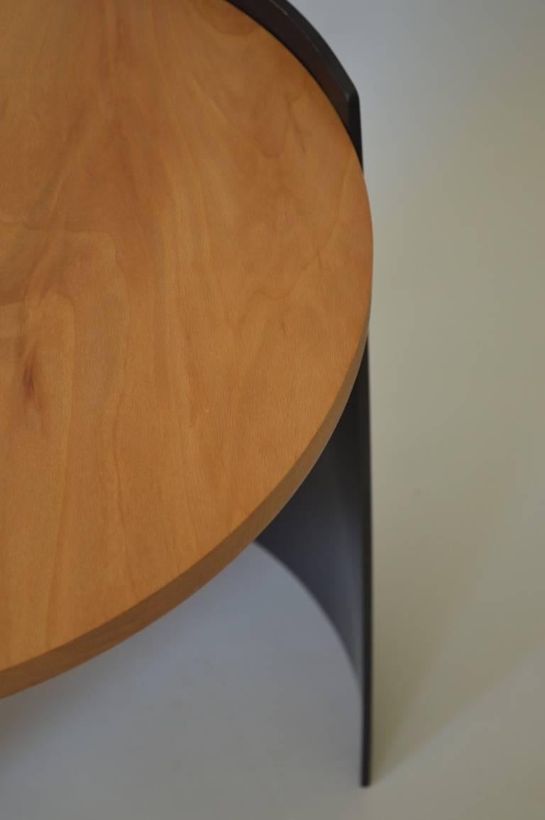 Contemporary Minimalist Blackened Steel and Wood End/Side Table by Scott Gordon In New Condition For Sale In White River Junction, VT