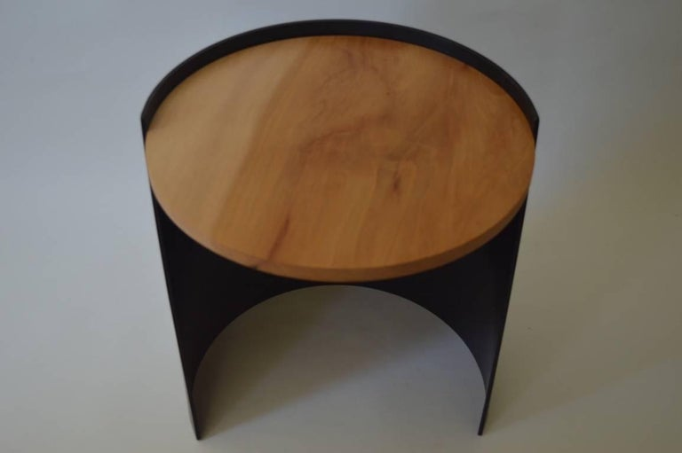 Contemporary Minimalist Blackened Steel and Wood End/Side Table by Scott Gordon For Sale 1