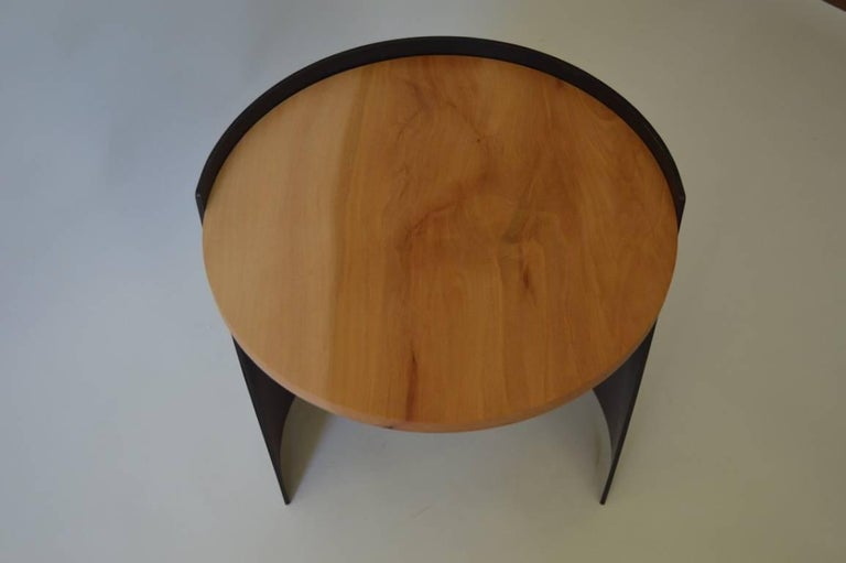 Contemporary Minimalist Blackened Steel and Wood End/Side Table by Scott Gordon For Sale 2