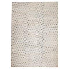 Contemporary Minimalist Diamond Pattern Hand-Knotted Cream Wool Rug
