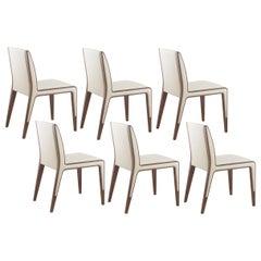 Contemporary Minimalist Dining Chairs, Beige/Walnut