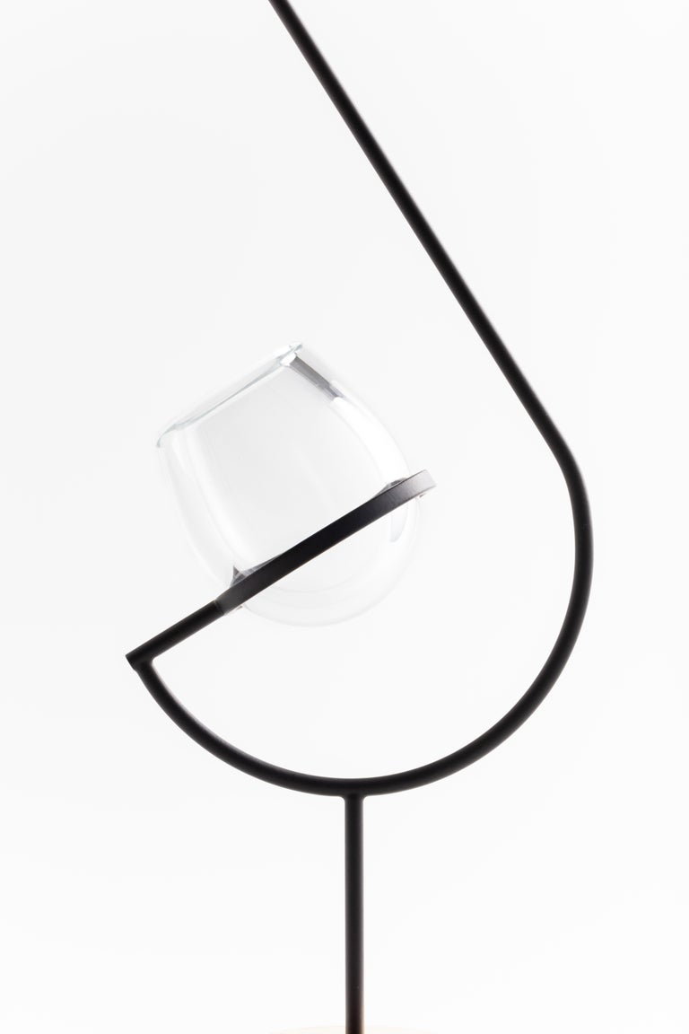 Contemporary Minimalist Golden / Black and Glass Solitary Vase V3 For Sale 6