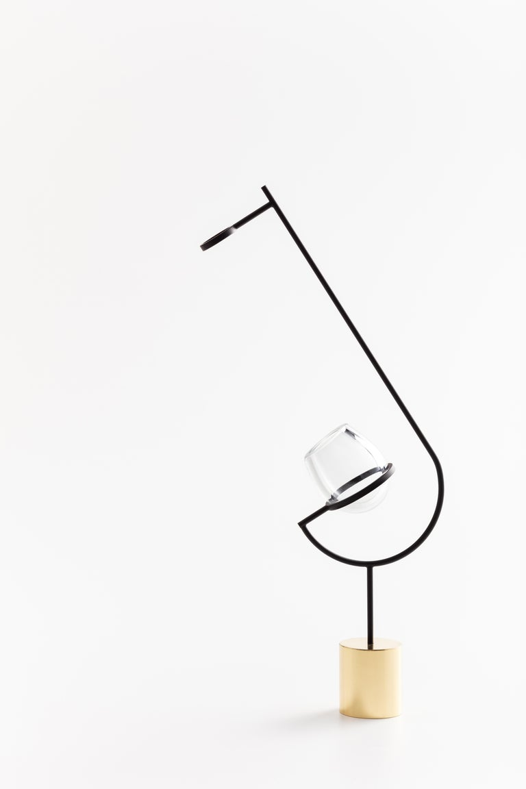 International Style Contemporary Minimalist Golden / Black and Glass Solitary Vase V3 For Sale