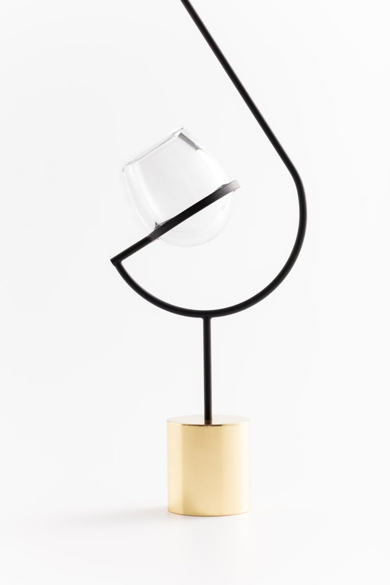 Brass Contemporary Minimalist Golden / Black and Glass Solitary Vase V3 For Sale