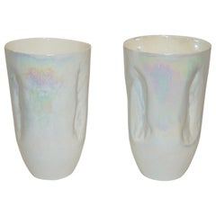 Contemporary Minimalist Iridiscent Pearl White Murano Glass Pair of Modern Vases