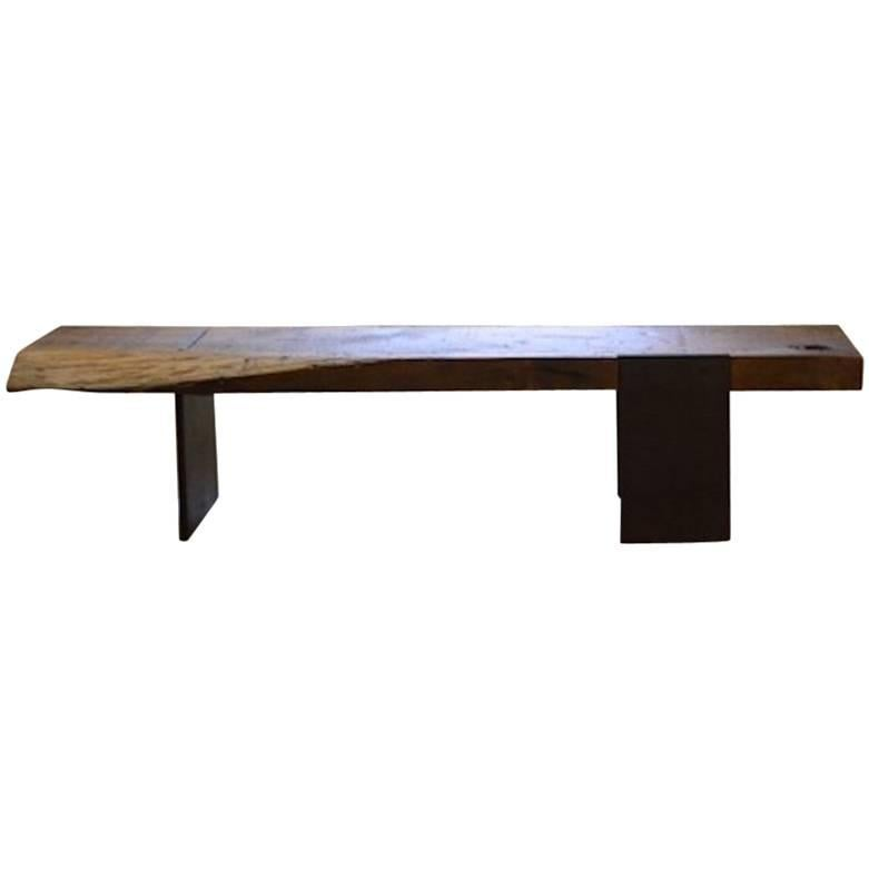 Contemporary Minimalist Rustic Wood and Steel Bench by Scott Gordon