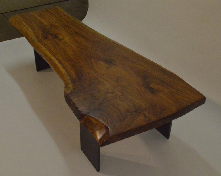 American Contemporary Minimalist Teak and Blackened Stainless Steel Bench by Scott Gordon For Sale