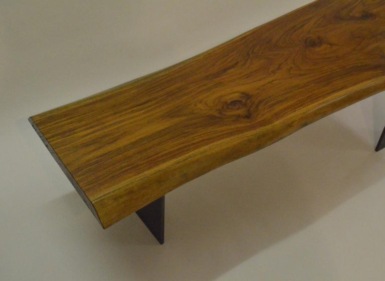 Contemporary Minimalist Teak and Blackened Stainless Steel Bench by Scott Gordon For Sale 2