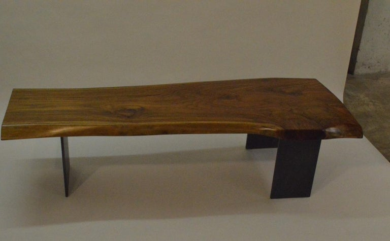 Contemporary Minimalist Teak and Blackened Stainless Steel Bench by Scott Gordon For Sale 3