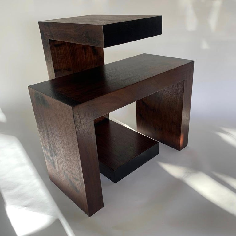 Woodwork Contemporary Minimalist Walnut Side Table or Bench by Scott Gordon For Sale