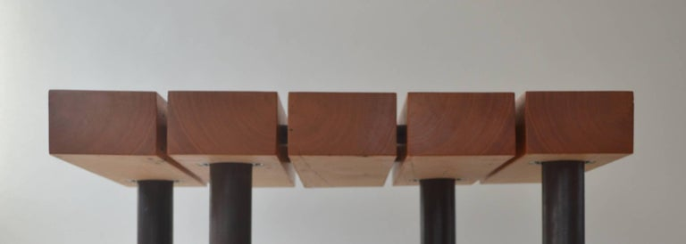 American Contemporary Minimalist Wood and Patinated Steel Coffee Table by Scott Gordon For Sale
