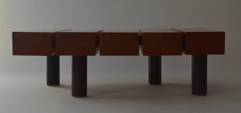 Varnished Contemporary Minimalist Wood and Patinated Steel Coffee Table by Scott Gordon For Sale