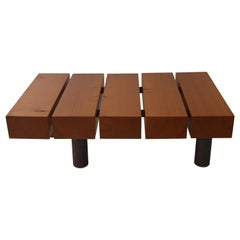 Contemporary Minimalist Wood and Patinated Steel Coffee Table, In Stock