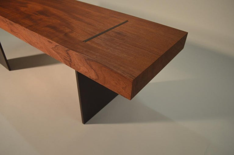 American Contemporary Minimalist Wood and Steel Bench by Scott Gordon For Sale