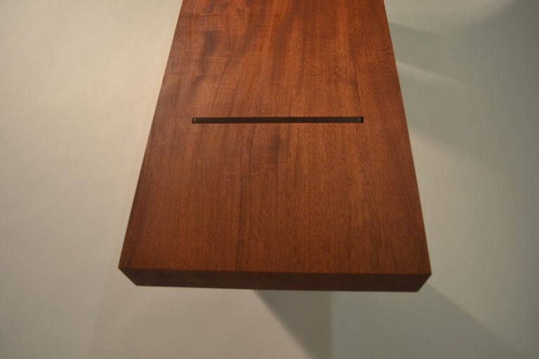Oiled Contemporary Minimalist Wood and Steel Bench by Scott Gordon For Sale