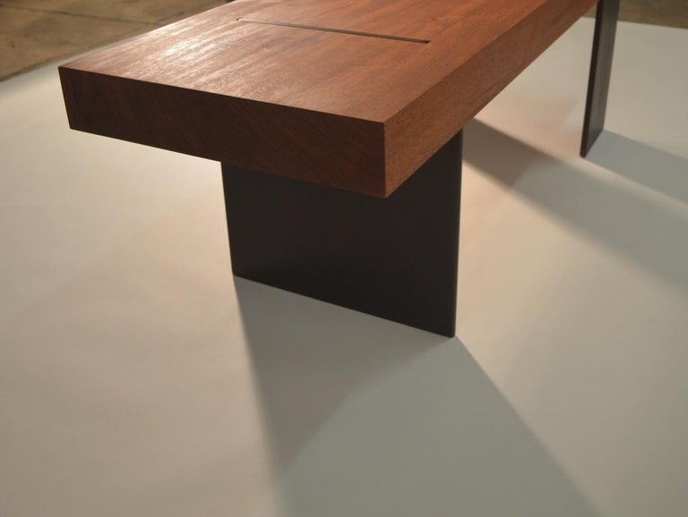 Contemporary Minimalist Wood and Steel Bench by Scott Gordon For Sale 1