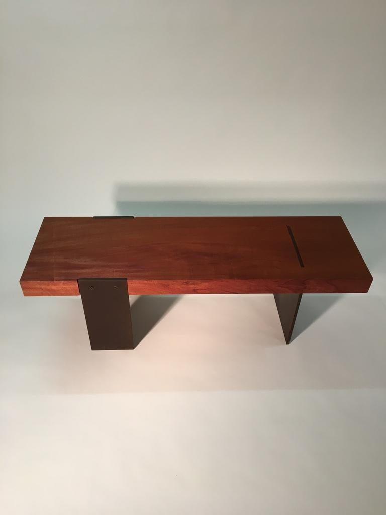 Contemporary Minimalist Wood and Steel Bench by Scott Gordon For Sale 2