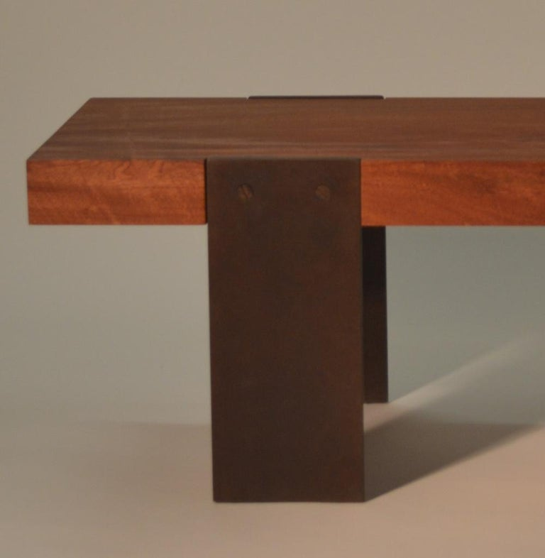 Contemporary Minimalist Wood and Steel Bench by Scott Gordon For Sale 3
