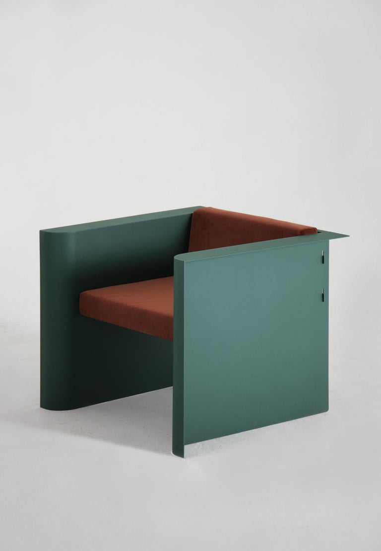 Other Contemporary Minimalistic Armchair in Steel Powder-Coated and Velvet For Sale