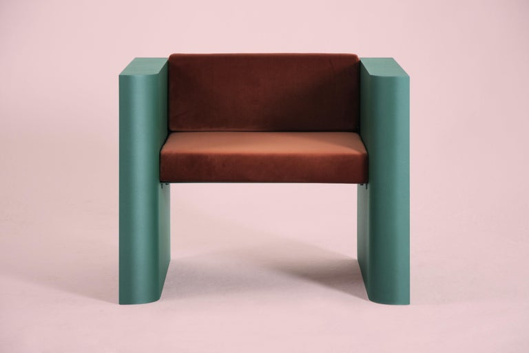 European Contemporary Minimalistic Armchair in Steel Powder-Coated and Velvet For Sale