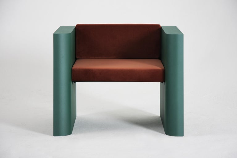 Contemporary Minimalistic Armchair in Steel Powder-Coated and Velvet For Sale 1