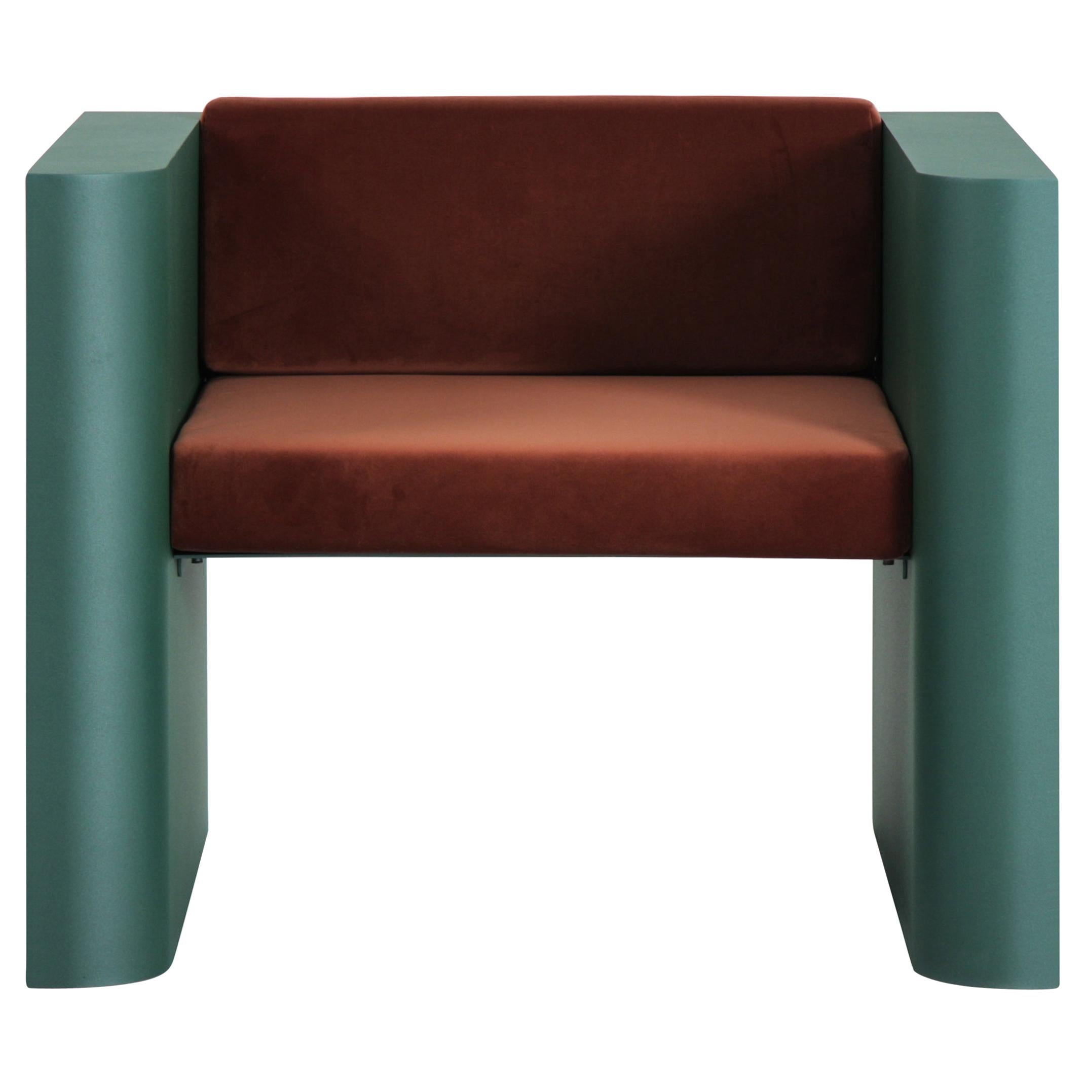 Contemporary Minimalistic Armchair in Steel Powder-Coated and Velvet