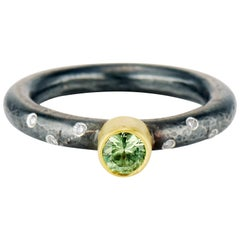 Contemporary Mint Green Tourmaline, Diamonds, Mixed Metal, Silver and Gold Ring