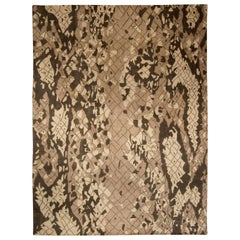 Contemporary Miraje Design Brown and Beige Hand Knotted Wool Rug
