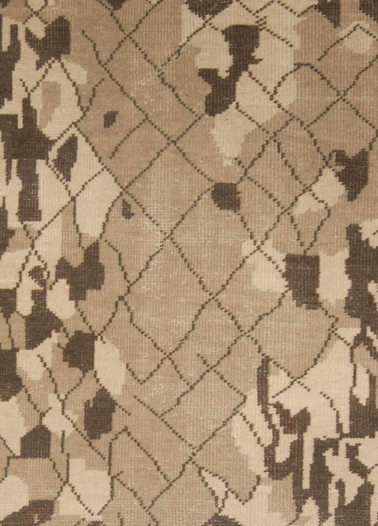 Contemporary Miraje design brown hand knotted wool rug Size: 9'0