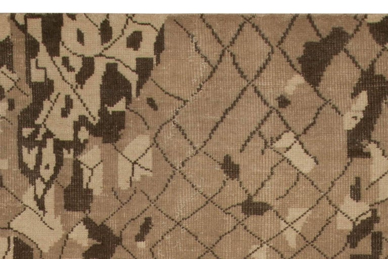 Hand-Knotted Contemporary Miraje Design Brown Hand Knotted Wool Rug For Sale