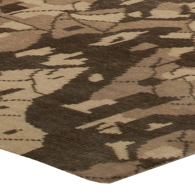 Contemporary Miraje Design Brown Hand Knotted Wool Rug For Sale 1