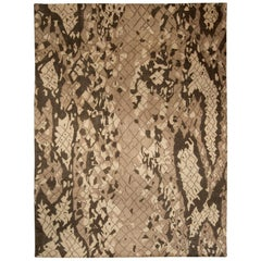 Contemporary Miraje Design Brown Hand Knotted Wool Rug