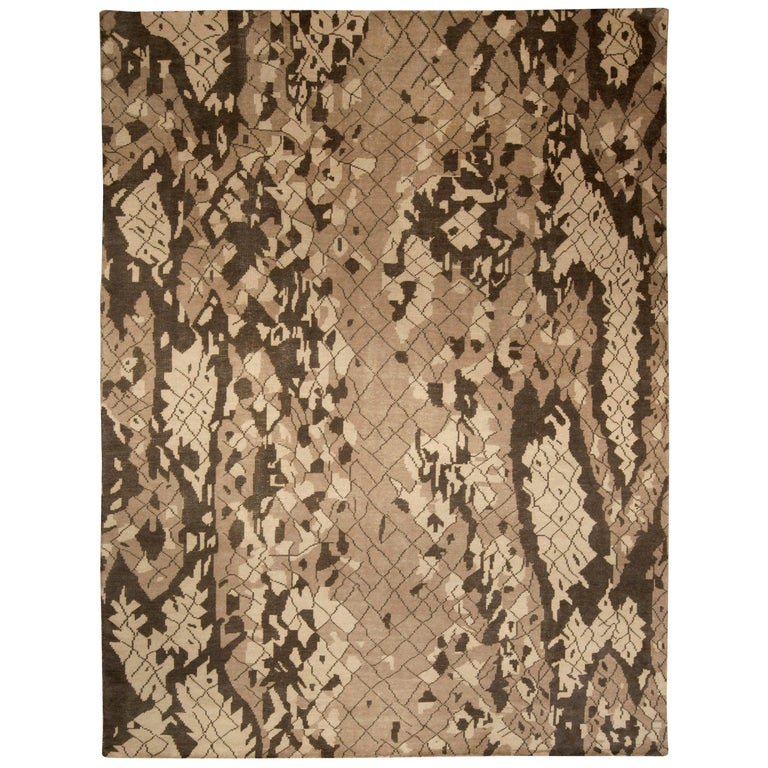 Contemporary Miraje Design Brown Hand Knotted Wool Rug For Sale