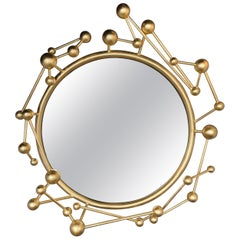 Contemporary Mirror Atomo Iron Gold Leaf by Antonio Cagianelli, Italy