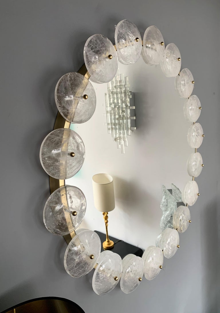Contemporary Mirror Brass Rock Crystal, Italy For Sale 3