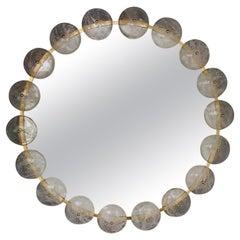 Contemporary Mirror Brass Rock Crystal, Italy