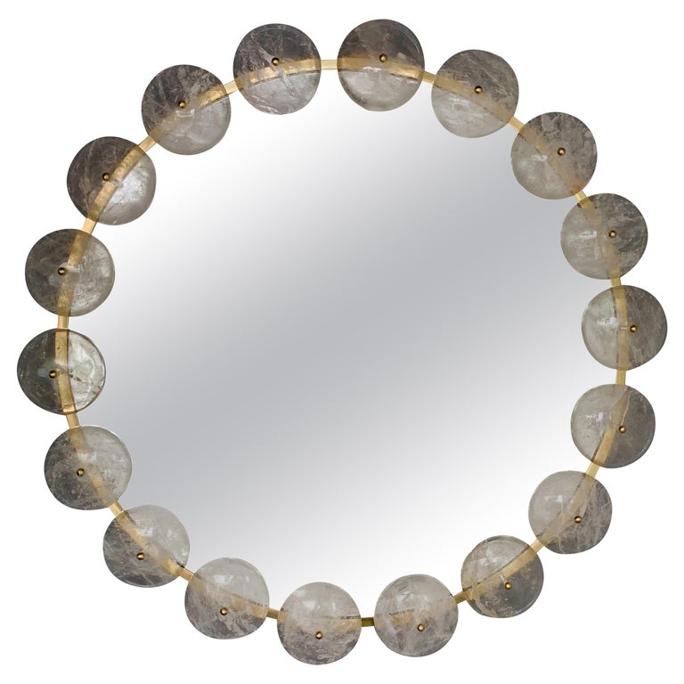 Contemporary Mirror Brass Rock Crystal, Italy For Sale