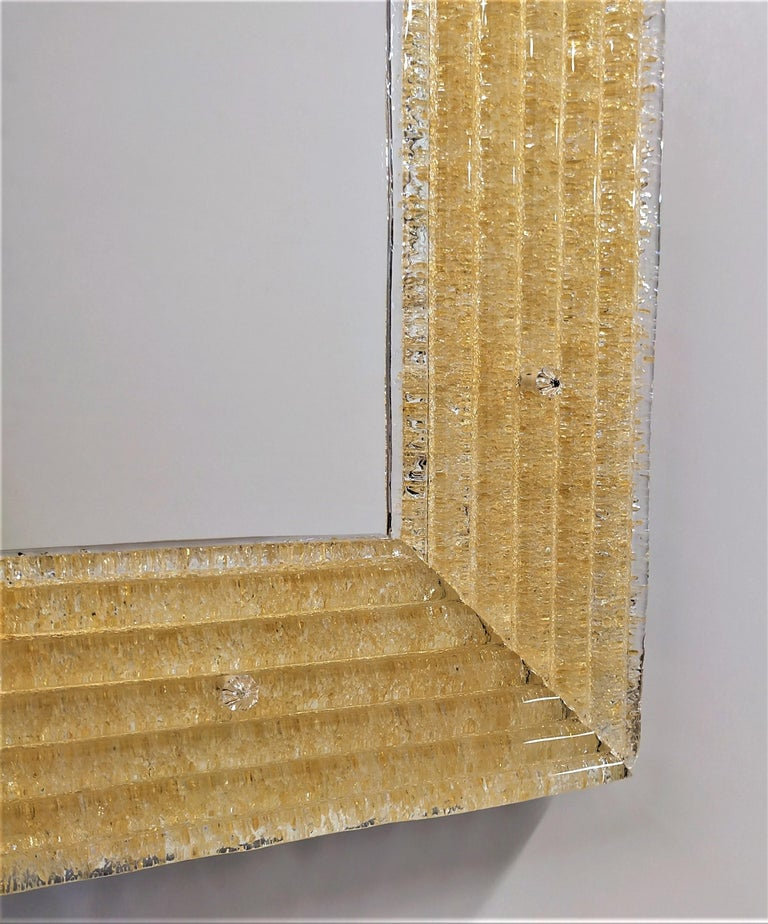 Other Contemporary Mirror, in Murano Glass Gold Frame, Handcrafted by Fratelli Tosi For Sale