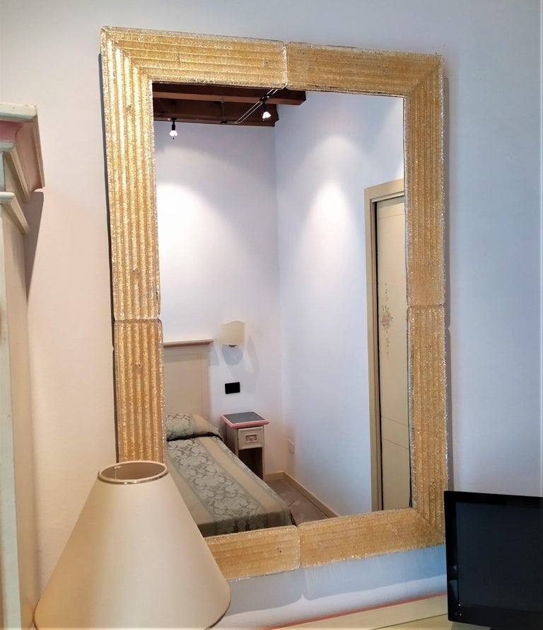 Italian Contemporary Mirror, in Murano Glass Gold Frame, Handcrafted by Fratelli Tosi For Sale