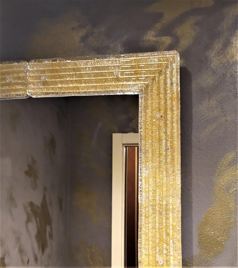 Hand-Crafted Contemporary Mirror, in Murano Glass Gold Frame, Handcrafted by Fratelli Tosi For Sale