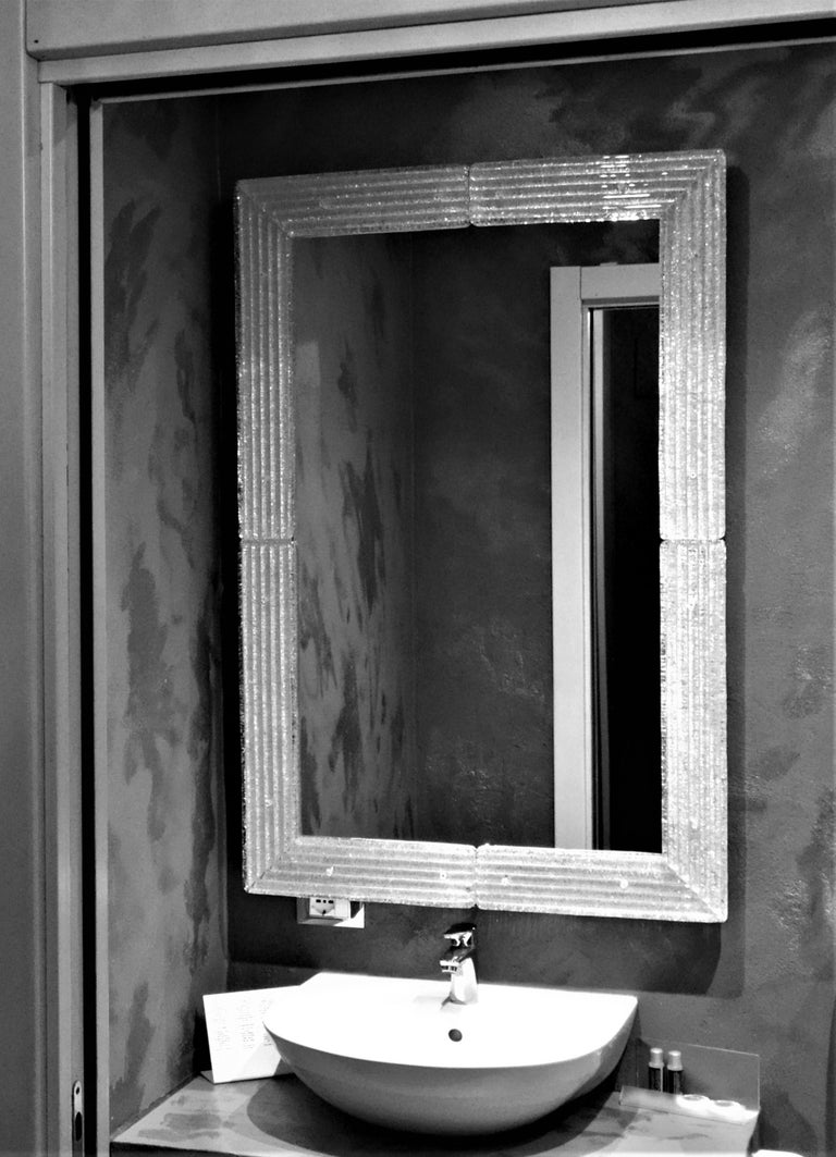 Contemporary Mirror, in Murano Glass Gold Frame, Handcrafted by Fratelli Tosi For Sale 1