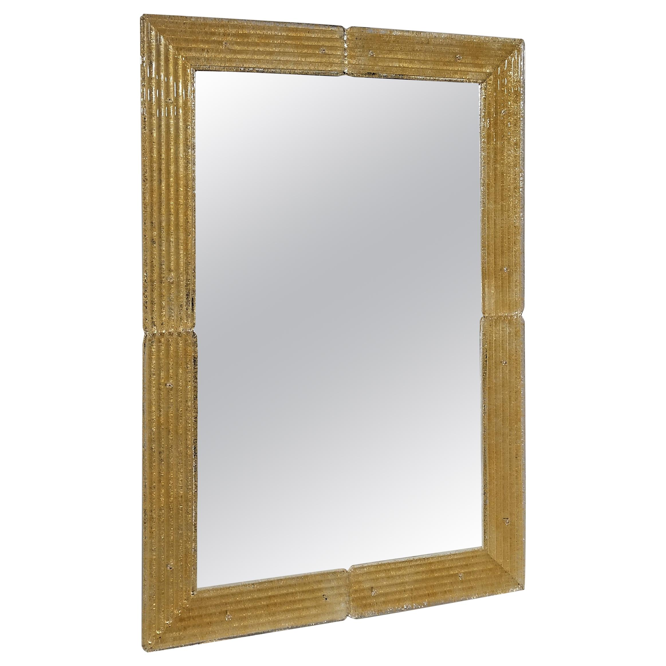 Contemporary Mirror, in Murano Glass Gold Frame, Handcrafted by Fratelli Tosi