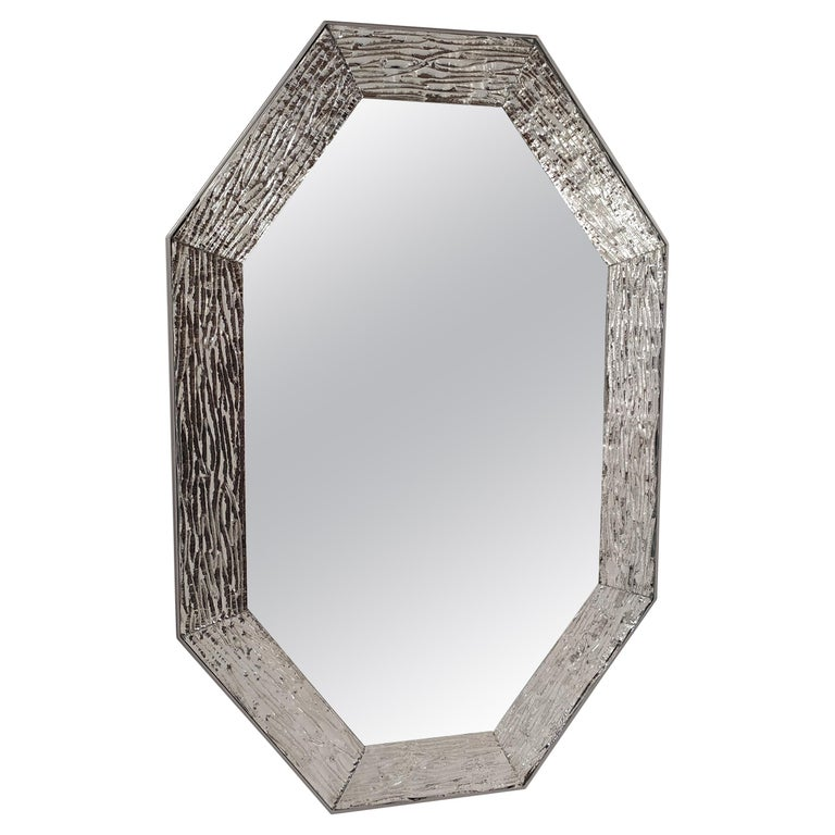 Contemporary Mirror, in Murano Glass Silvering Frame, Handcrafted, Made in Italy For Sale