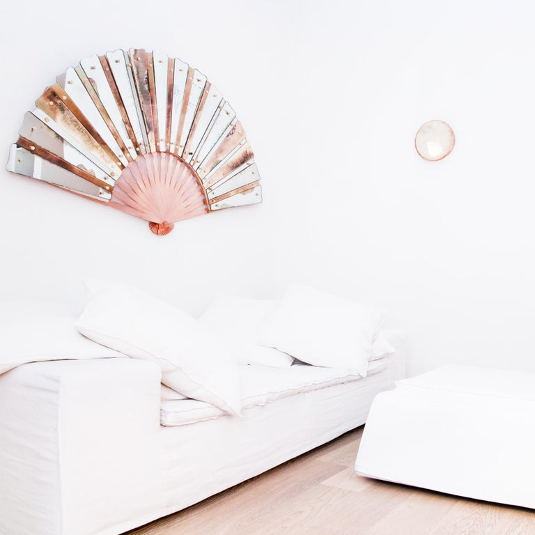 Modern Contemporary Mirror, Three-Dimensional Wall Fan, Silvered Glass Slabs, brass  For Sale