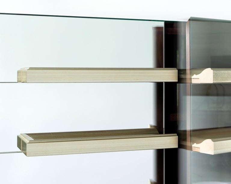 Modern Contemporary Mirrored Floating Dry Bar with Champagne Molding Handles For Sale