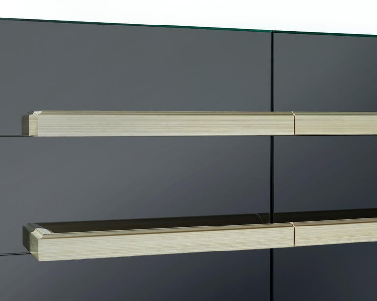 American Contemporary Mirrored Floating Dry Bar with Champagne Molding Handles For Sale