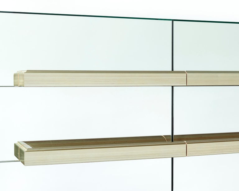 Metal Contemporary Mirrored Floating Dry Bar with Champagne Molding Handles For Sale